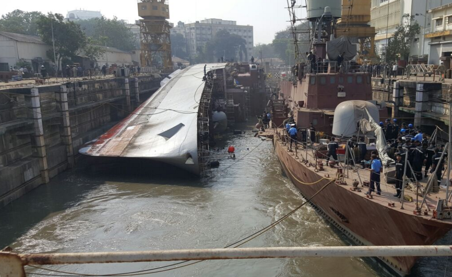 INS Betwa after the accident in Mumbai's naval dockyard
